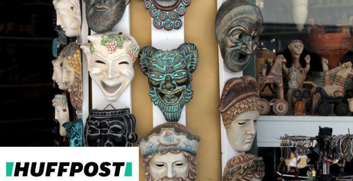 Souvenirs at tourist shop in Plaka, a tourist area of Athens, on May 8, 2017. After last year's record with about 27.5 million tourists, the number of visitors to  Greece is expected to reach up to 30 million this year, the target of 2017 for Greek tourism is to earn direct revenue of 15 billion euros, which translates to 850,000 jobs. (Photo by Panayotis Tzamaros/NurPhoto)